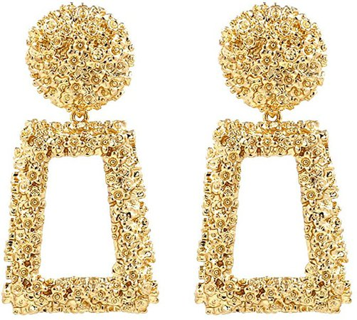 Amazon.com: ATIMIGO Statement Drop Earrings Large Metal Geometric Dangle Earrings Gold for Women Girls: Jewelry