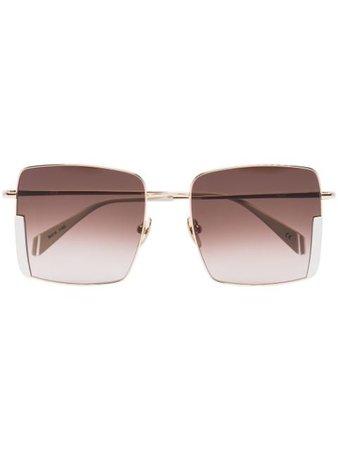 Kaleos Bennet square-frame sunglasses gold & brown BENNET - Farfetch