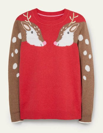 Christmas Sweater - Hot Pepper Red, Reindeer