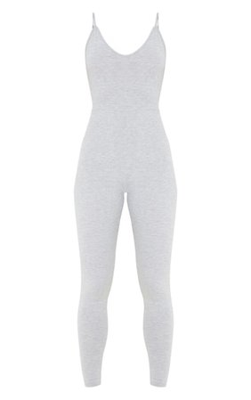 Grey Marl Basic Strappy Plunge Jumpsuit | PrettyLittleThing USA