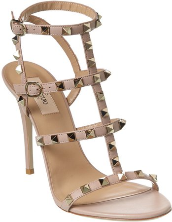 Rockstud Caged 100 Leather Ankle Strap Sandal