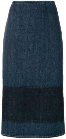 contrast band denim skirt