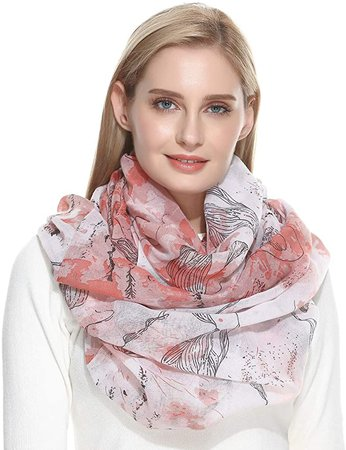 Amazon.com: Infinity Scarf for Women Head Wrap Gifts for Women Lightweight Pink Floral: Clothing