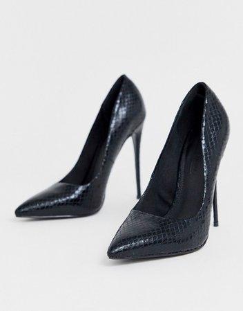 ASOS DESIGN Penelope stiletto pumps in black snake   ASOS