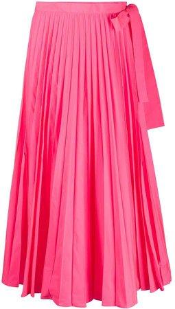Tied-Waist Pleated Skirt