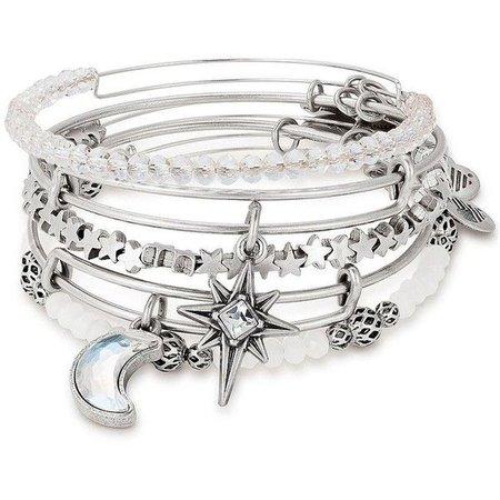 Silver Crescent Moon & Stars Charm Bracelet Set