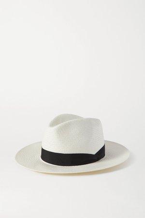 White Grosgrain-trimmed straw Panama hat   rag & bone   NET-A-PORTER
