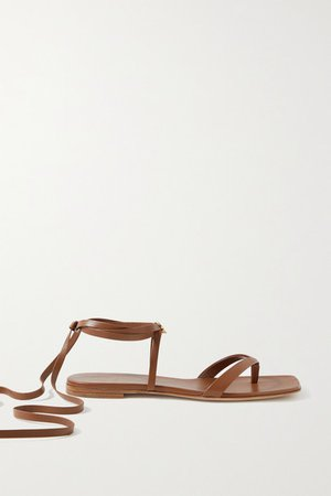 Lace-up Leather Sandals - Light brown