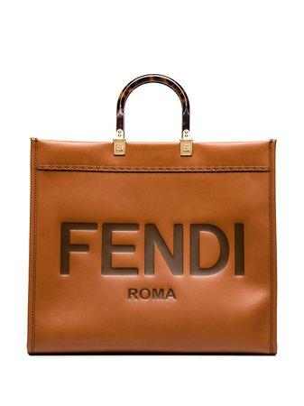 Fendi Sunshine logo-embossed Leather Tote Bag - Farfetch