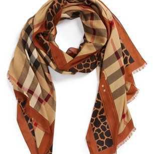 Burberry Brown Women's Animal Print Haymarket Check Scarf/Wrap - Tradesy