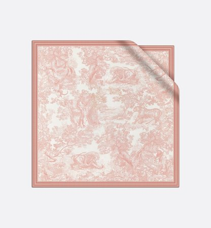 Pink Toile de Jouy Silk Twill Square Scarf - products | DIOR