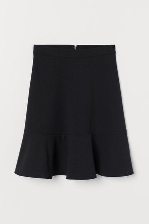 Jersey Skirt with Flounce - Black