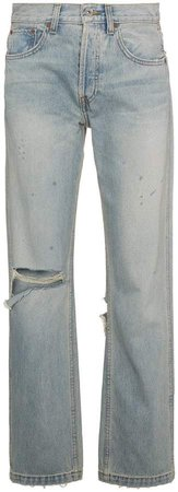 oversized distressed straight cut jeans