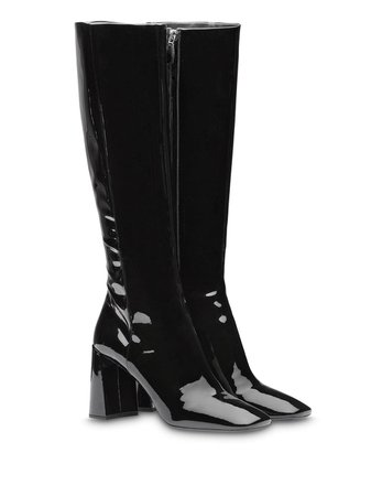 Prada Fitted Patent Boots - Farfetch
