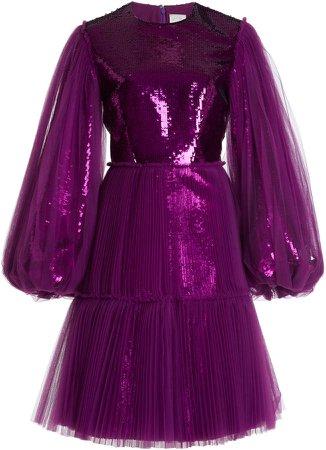 Huishan Zhang Fearne Sequin-Embellished Tulle Knee-Length Dress