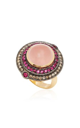 Dorion Soares 18K Gold and Pink Quartz Ring Size: 6.75
