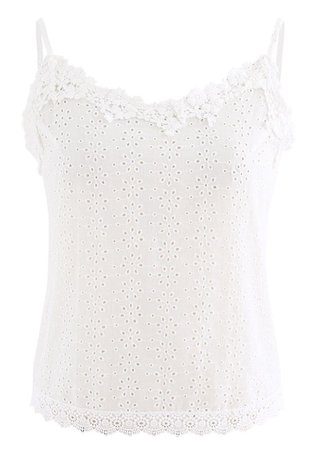 Embroidered Snowflake Eyelet Crop Cami Top - Retro, Indie and Unique Fashion