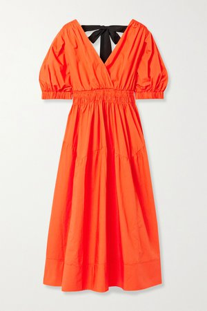 Bright orange Shirred cotton poplin midi dress