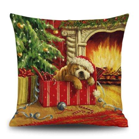 DressLily.com: Photo Gallery - Christmas Fireplace Dog Print Linen Pillowcase