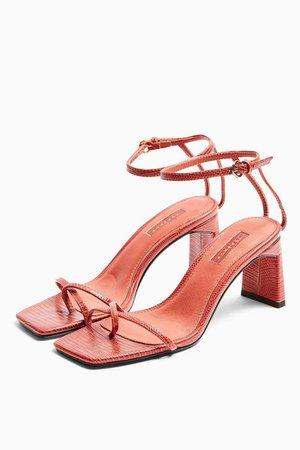 NATURE Rust Strappy Block Heels | Topshop