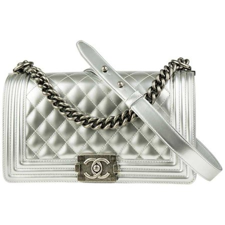 Chanel Silver Metallic Old Medium Boy Bag For Sale at 1stdibs