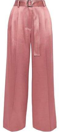 Blanche Belted Pleated Satin-twill Wide-leg Pants
