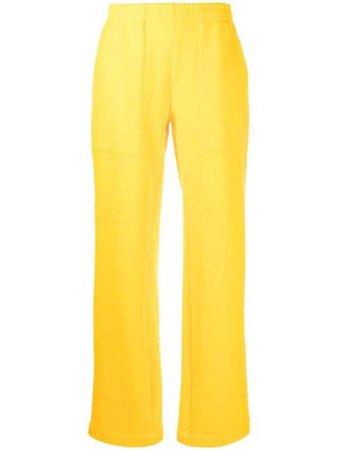 Styland wide leg organic cotton track trousers yellow SS21B02220321 - Farfetch