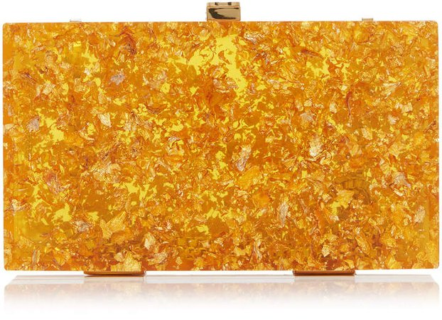 Marzook Gold Leaf Resin Box Clutch