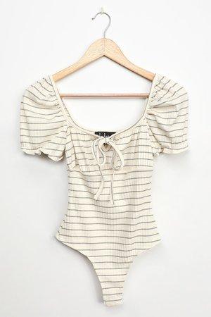 Cream Striped Bodysuit - Puff Sleeve Bodysuit - Ribbed Bodysuit
