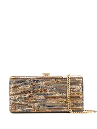 sequined multicolor clutch bag