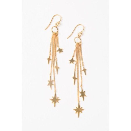 Hanging Gold Star Earrings