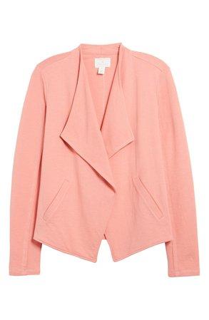 Caslon® Drape Collar Knit Blazer   pink