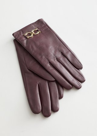 Buckle Embellished Leather Gloves - Maroon - Gloves - & Other Stories