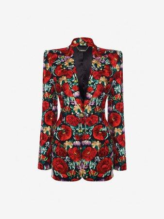 Women's Black Floral Embroidered Jacket | Alexander McQueen