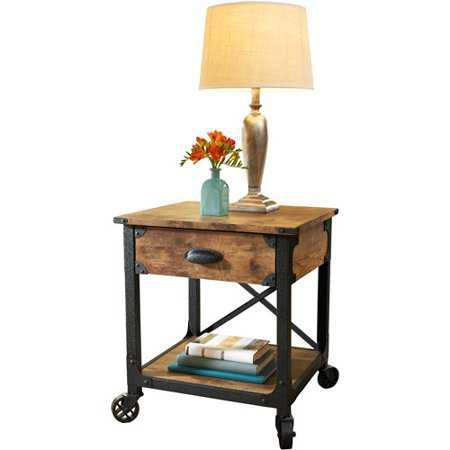 Better Homes and Gardens Rustic Country End Table, Antiqued Black/Pine Finish - Walmart.com