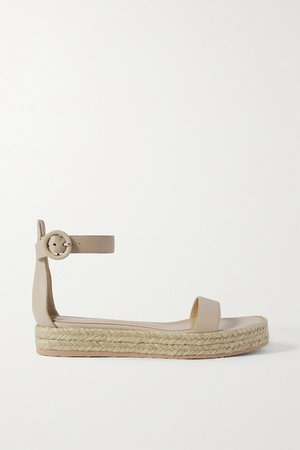 Leather Espadrille Platform Sandals - Neutral