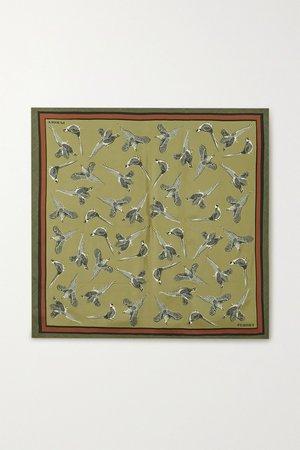 Army green Printed silk-twill scarf | Purdey | NET-A-PORTER