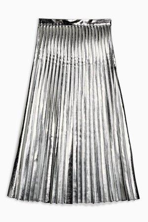 Silver Metallic PU Pleated Midi Skirt | Topshop