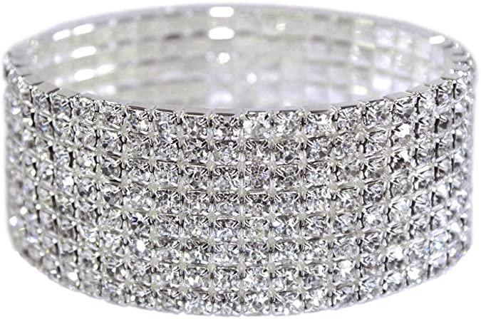 Amazon.com: Weiss Rhinestone Stretch Bracelet Silver - Genuine Crystal - Bridal, Wedding, Prom, Party, Pageant, Evening Wear, Party Wear, Tennis Bracelet (8 Row): Jewelry