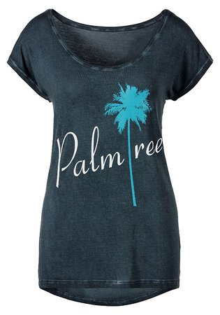 Blue-Patterned Palm Tree Print Top