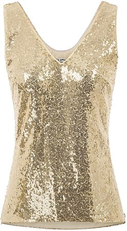 GRACE KARIN Womens Sparkle Sequin Tank Tops Sleeveless Shimmer Shirt Party Camisole Gold S at Amazon Women's Clothing store