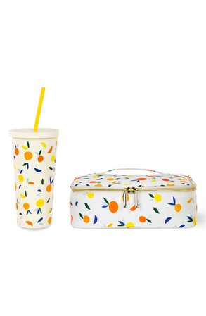 kate spade new york citrus twist insulated tumbler & insulated lunch tote set | Nordstrom