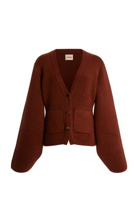 Scarlet Oversized Puff-Sleeve Cashmere Cardigan by Khaite | Moda Operandi