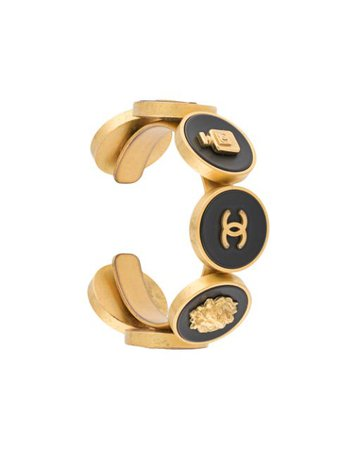 Shop gold & black Chanel Pre-Owned 1994 CC logo cuff bracelet with Express Delivery - Farfetch