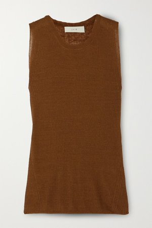 Ribbed Linen-blend Tank - Brown