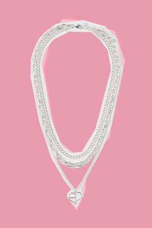 Triple-strand Necklace - Silver-colored/Blackpink - Ladies | H&M US