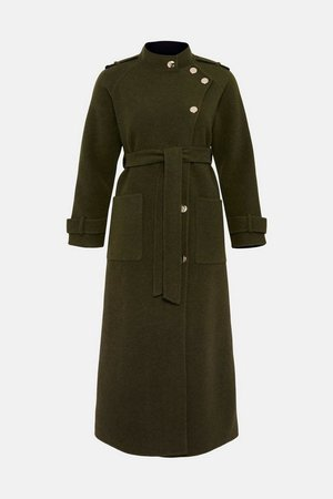 Funnel Neck Splitable Wool Coat | Karen Millen