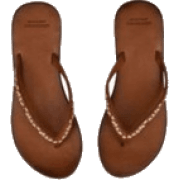 leather embroidered flipflops