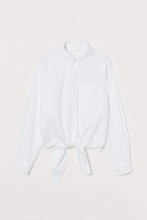 Blouse with Ties - White