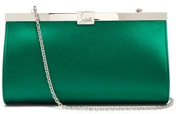 Palmette Satin Clutch - Womens - Green